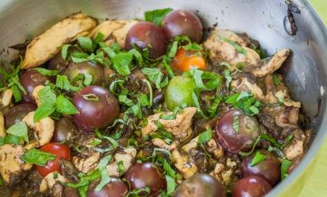 Sauté de poulet aux cèpes et basilic