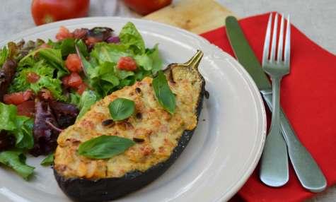 Aubergine farcie aux olives et parmesan