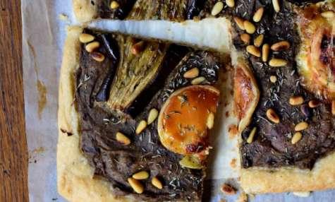 Tarte fine aux aubergines, thym et Pélardon