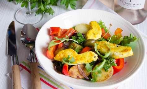 Salade poulet poivrons pommes de terre salsa verde