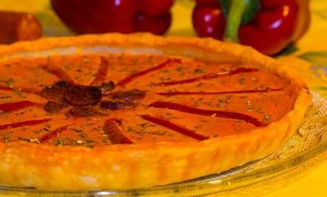 Tarte au flan de poivron et chorizo