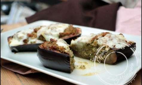 Aubergines farcies à la courgette et brebis