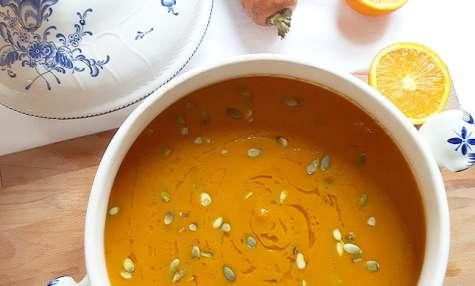 Soupe carotte, orange et curry de madras