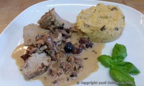 Filet mignon aux olives niçoises et polenta crémeuse aux cèpes