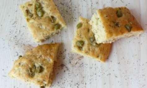 Focaccia aux olives vertes et herbes de Provence