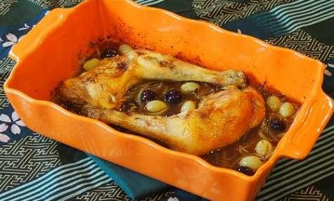 Cuisses de poulet aux raisins bicolores