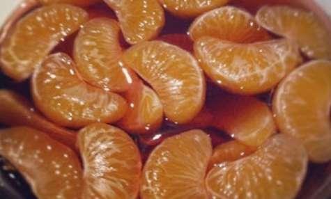 Clémentines pochées au sirop de cassis