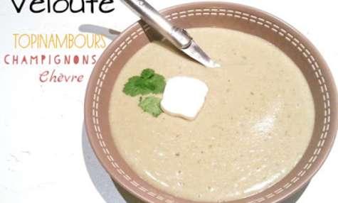 Velouté topinambours, champignon de Paris, chèvre frais