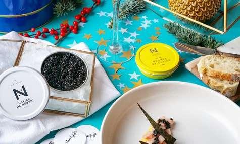 Tartare de veau de lait, sabayon au citron et Caviar de Neuvic