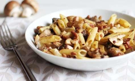 Penne aux marrons, champignons et bacon