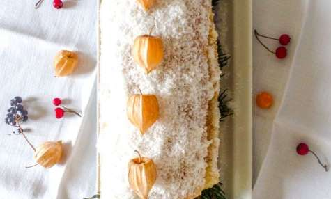 Bûche de Noël kiwis mandarine coco vegan