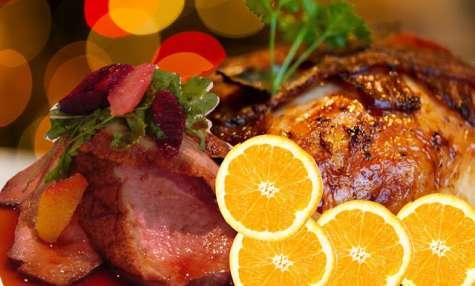 Canard, sauce au jus d'orange, champignons