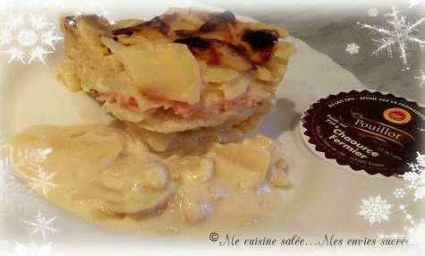 Gratin de pomme de terre au chaource et saumon fumé