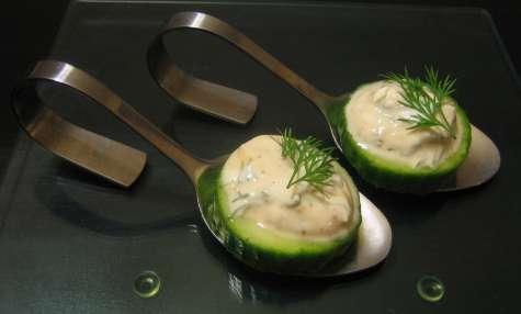bouchée apéritive concombre et fromage blanc à l'aneth