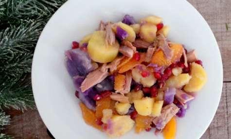 Salade de pommes de terre, chapon (ou dinde), orange et grenade