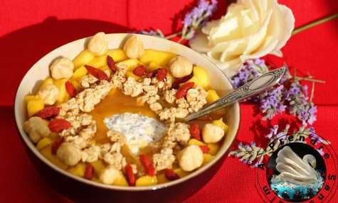 Flocons crémeux sans cuisson mangue vanille