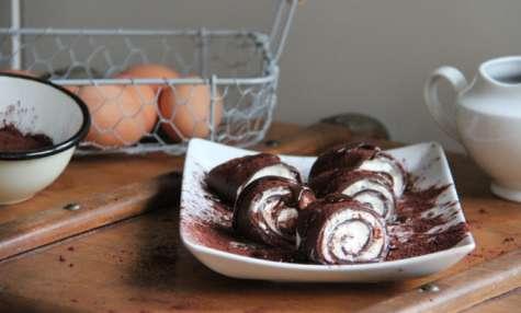 Crêpes chocolat roulées, mousse mascarpone