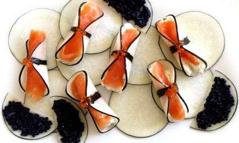Radis noir au saumon fumé et fromage frais