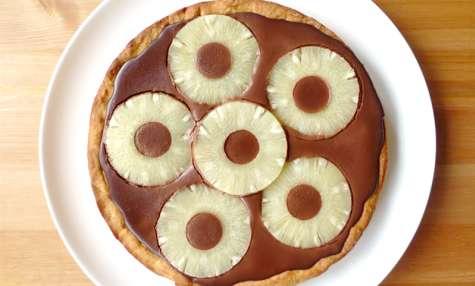 Tarte fondante au chocolat et à l'ananas