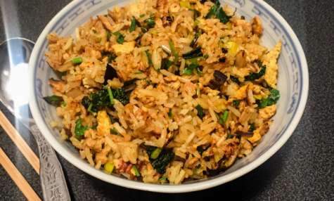 Mon riz sauté du jour tofu, kale et poireau