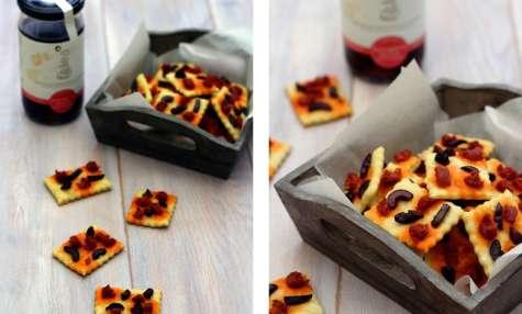 Crackers aux chorizo et olives noires