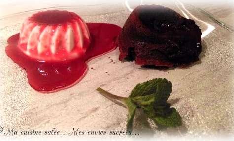 Panna Cotta - coulis framboise - fondant chocolat