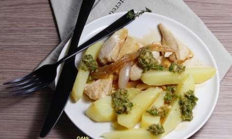 Aiguillettes de poulet pommes de terre fondantes et pesto d'épinards