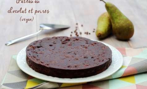 Gâteau au chocolat et poires vegan