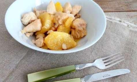 Poulet au citron vert, ananas, gingembre et miel