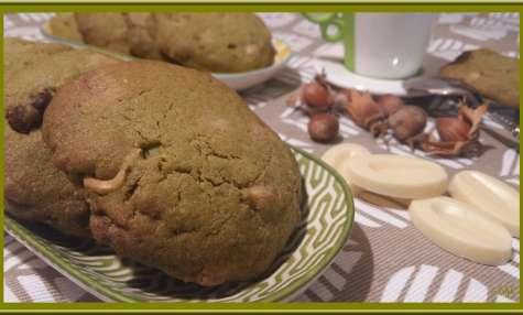 Cookies Thé Matcha, chocolat blanc et noisettes