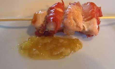 Brochettes de poulet sauce pomme et érable