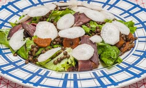 Salade de lentilles au magret fumé et au radis noir