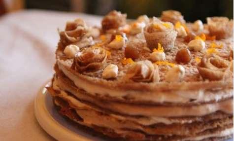 Gâteau de crêpes orange-crème de marrons