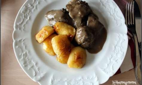 Foies de volaille au Marsala et pommes gourmandes