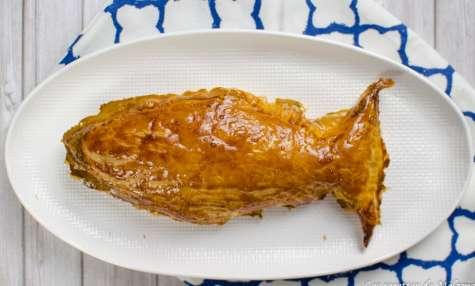 Poisson d'avril feuilleté à la patate douce, saumon fumé et chèvre frais