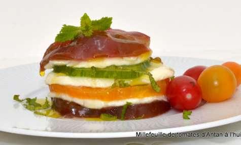 Millefeuille de tomates d'Antan, mozzarella et huile d'olive goût Intense