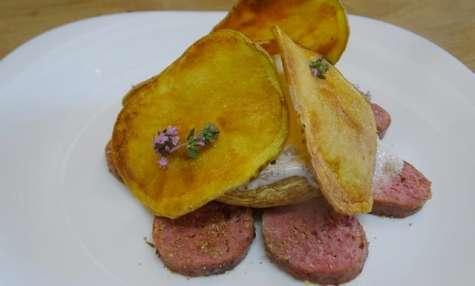 Perugine au poivre de fenouil, champignon grillé mousse de Gorgonzola