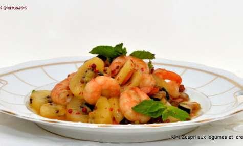 Wok de légumes aux crevettes et au kiwi