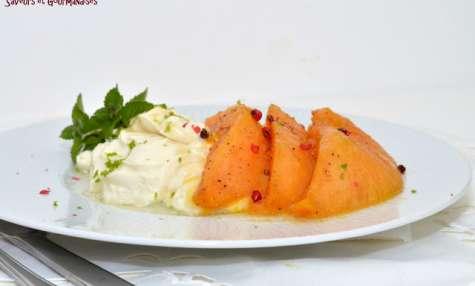 Melon rôti à la crème citronnée