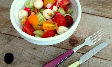 Salade de tomates cerises, mozzarella, radis, concombre