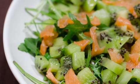 Salade au saumon fumé et au kiwi