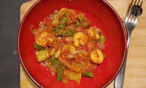Crevettes mijotées aux asperges et céleri