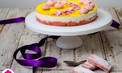 Entremet au citron sur une base de biscuits roses de Reims