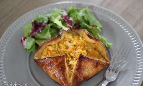 Feuilleté au crabe, poireaux et carotte