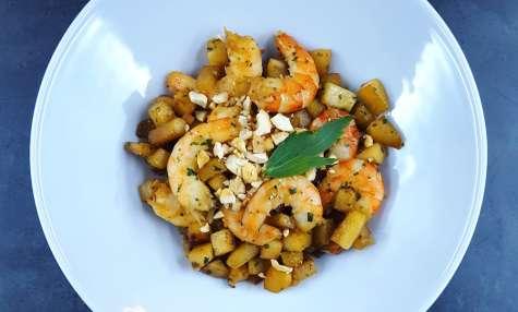 Délicieux wok minute de chou-rave et crevettes
