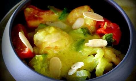 Curry de crevettes et courgettes au lait de coco