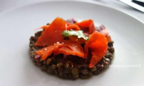Salade de lentilles au saumon fumé