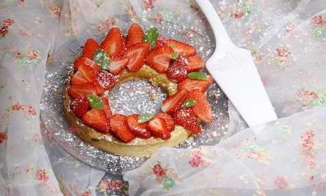 Tarte amandine à la menthe et aux fraises