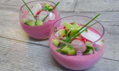 Mousse de radis et de bettterave, radis et concombre croquants