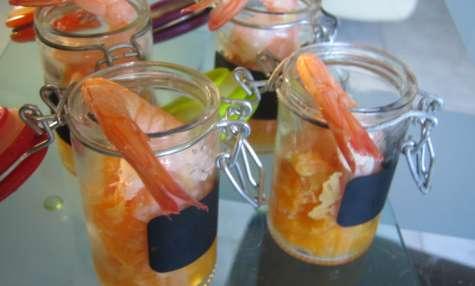 verrines apéritives crevettes, mandarines, citron vert et gingembre frais